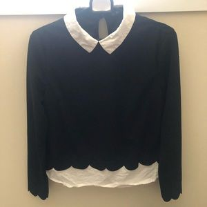 Scalloped black and white collared blouse